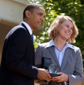 Sarah Brown Wessling with President Barack Obama