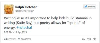 Ralph Fletcher #nctechat tweet about poetry