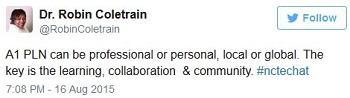 Professional Learning Network tweet