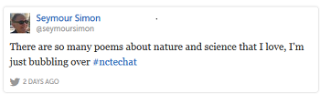 Seymour Simon #nctechat tweet about poetry