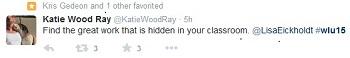 #WLU15 tweet from Katie Wood Ray